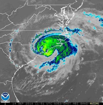 Hurricane Florence landfall 09-14-2018