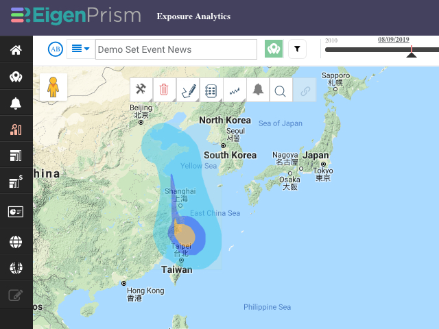 Typhoon Lekima forecast wind swath 08-09-2019