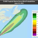Tropical Storm Bill moving NorthEast off the US East coast